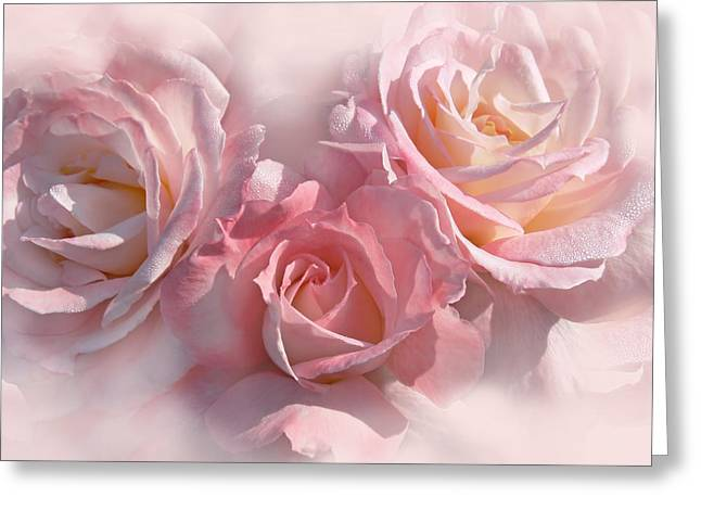 Pink Roses In The Mist Greeting Card by Jennie Marie Schell