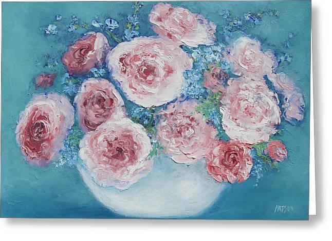 Pink Roses Greeting Card by Jan Matson