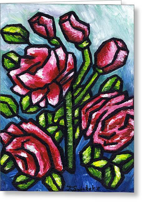 Pink Roses Greeting Card by Kamil Swiatek
