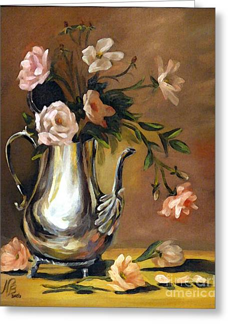 Pink Roses Greeting Card by Nancy Bradley