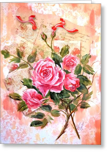 Pink Roses On Vintage Letters Greeting Card