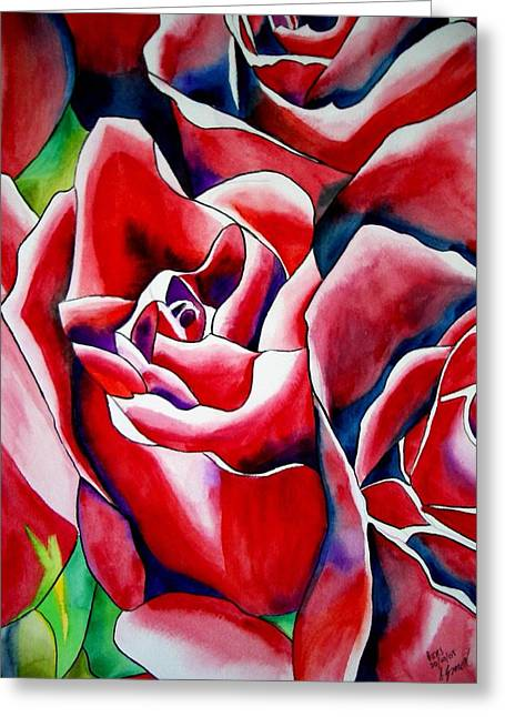 Pink Roses Greeting Card by Sacha Grossel