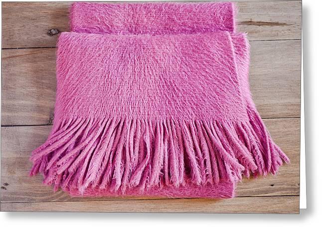 Pink Scarf Greeting Card by Tom Gowanlock
