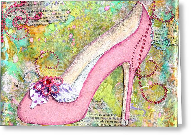 Pink Shoes With Mixed Media Background Greeting Card by Janelle Nichol