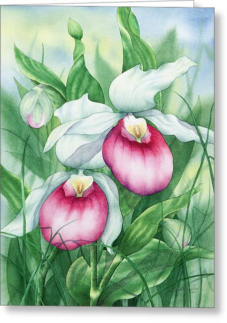 Pink Showy Lady Slippers Greeting Card