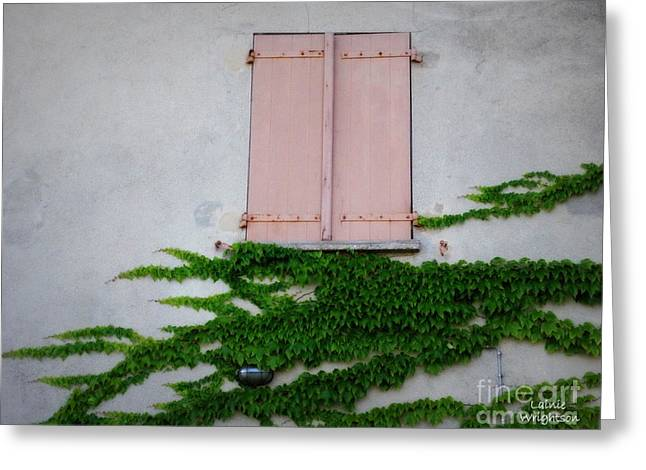 Pink Shutters And Green Vines Greeting Card