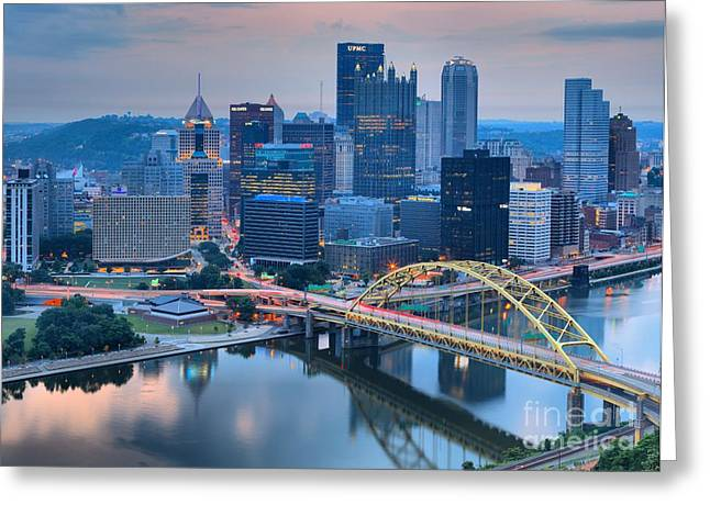 Pink Skies And Pittsburgh Skyscrapers Greeting Card by Adam Jewell