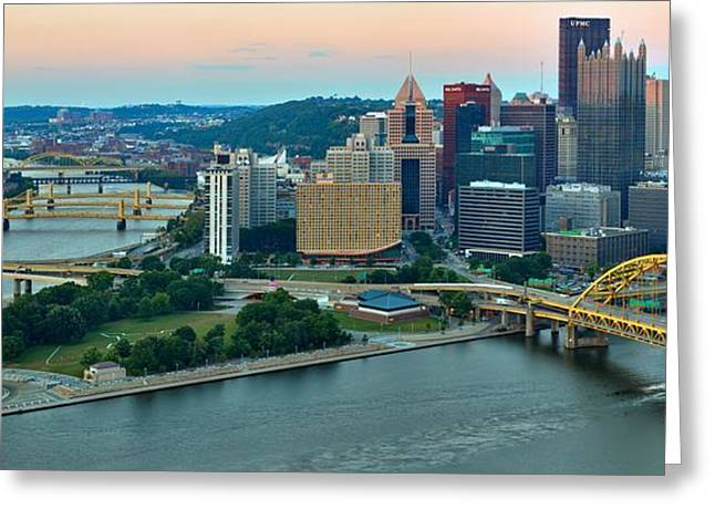 Pink Skies Over Pittsburgh Greeting Card by Adam Jewell