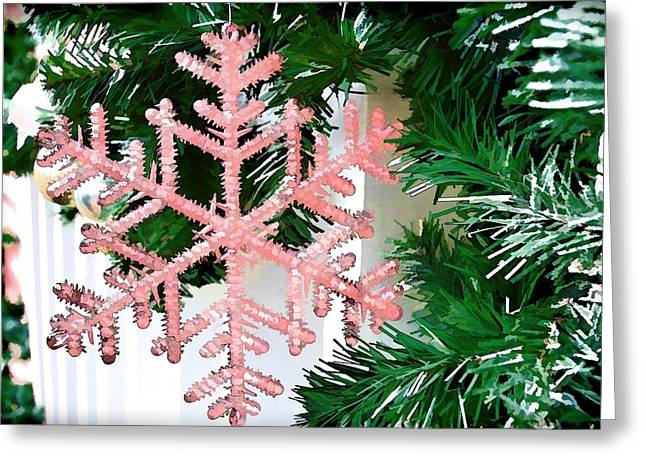Pink Snowflake Greeting Card by Audreen Gieger-Hawkins