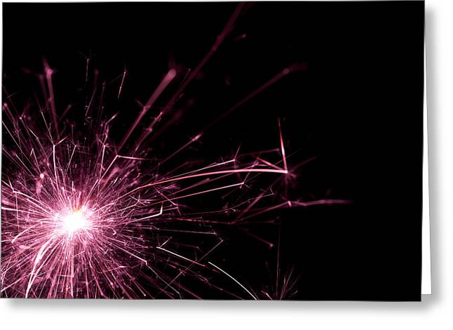 Pink Sparkle Greeting Card by Samuel Whitton