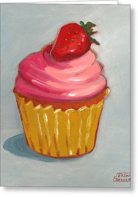 Pink Strawberry Cupcake Greeting Card