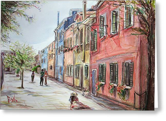 Pink Street Greeting Card by Becky Kim