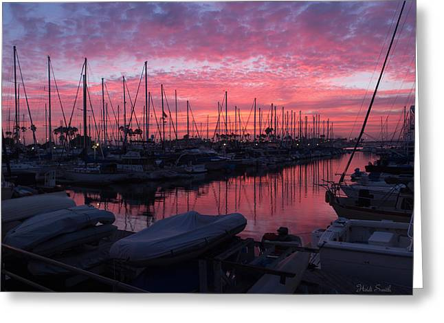 Pink Summer Sunset  Greeting Card by Heidi Smith