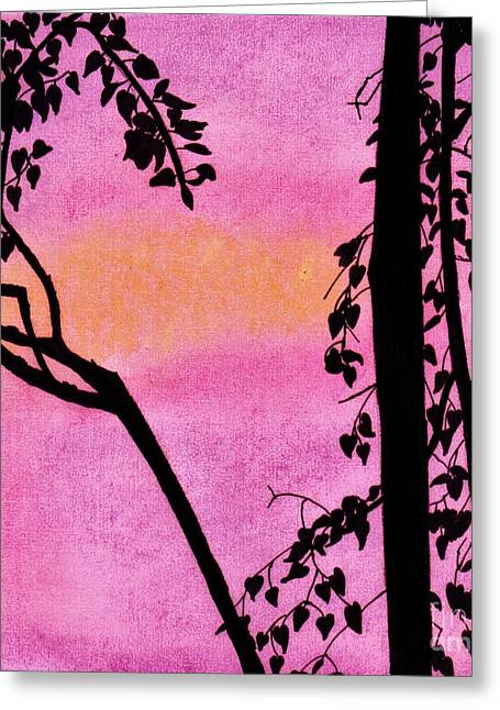 Greeting Card featuring the drawing Pink Sky Sunset by D Hackett