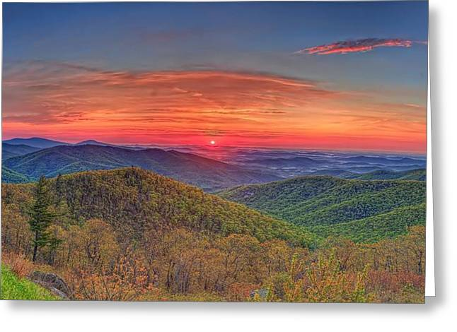 Pink Sunrise At Skyline Drive Greeting Card