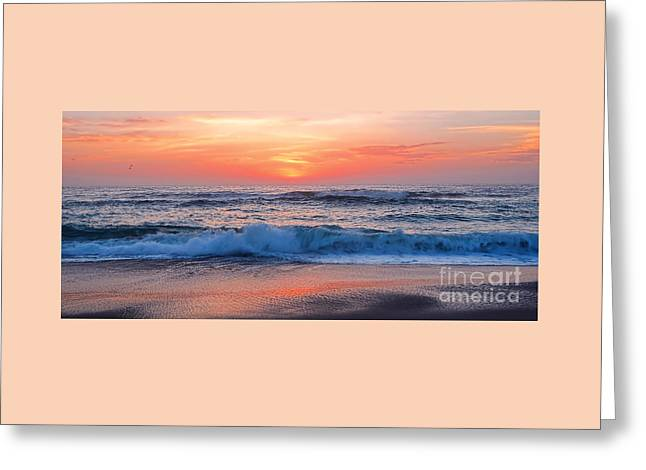 Pink Sunrise Panorama Greeting Card by Kaye Menner