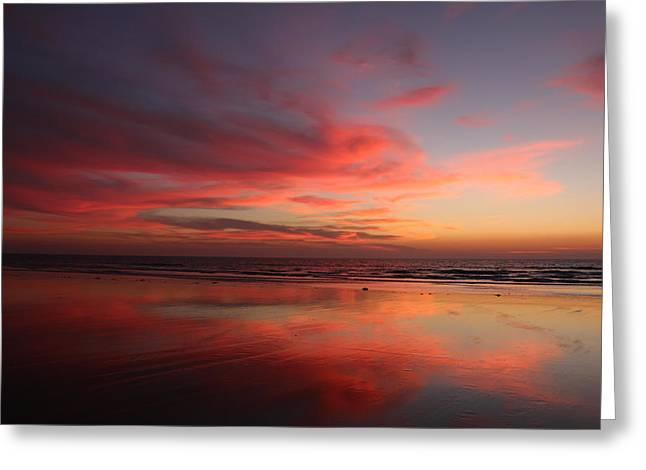 Ocean Sunset Reflected  Greeting Card