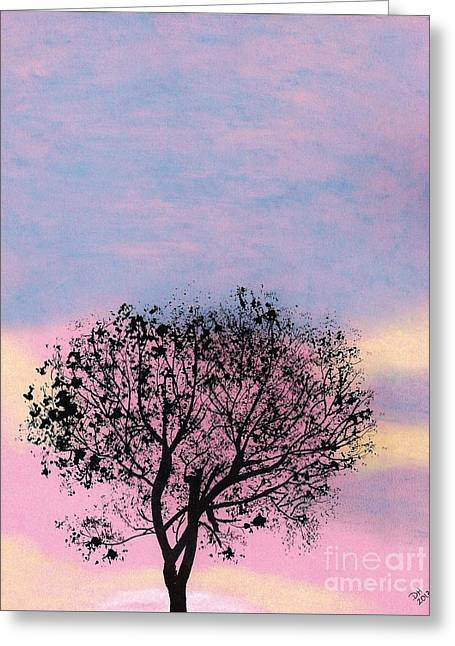 Greeting Card featuring the drawing Pink Sunset by D Hackett