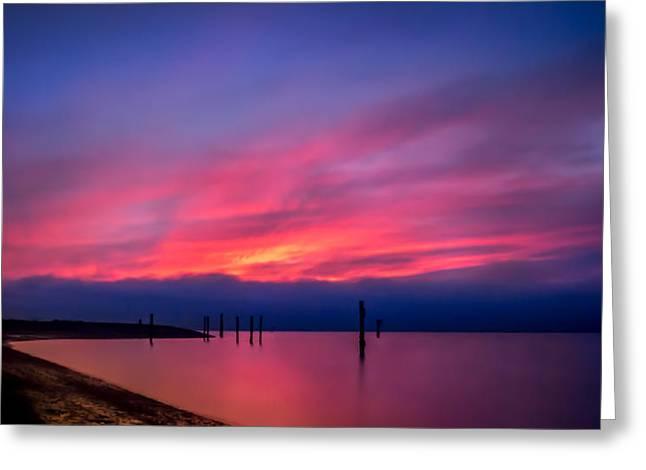 Pink Sunset Greeting Card by Eva Kondzialkiewicz