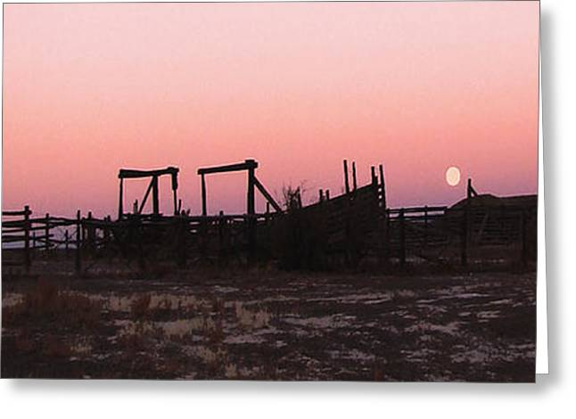 Pink Sunset Over Corral Greeting Card