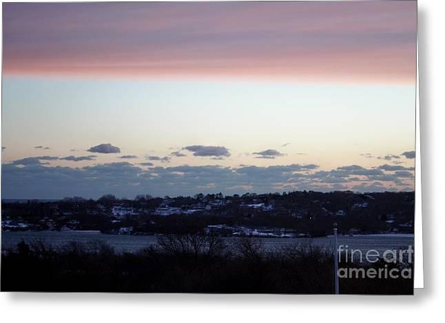 Pink Sunset Over Montauk Greeting Card by John Telfer