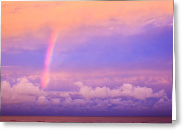Greeting Card featuring the photograph Pink Sunset Rainbow by Peta Thames