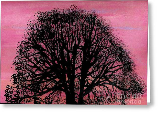 Greeting Card featuring the drawing Pink Sunset Tree by D Hackett