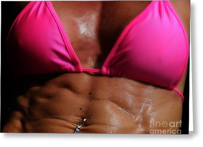 Pink Sweat Greeting Card by Steven Digman