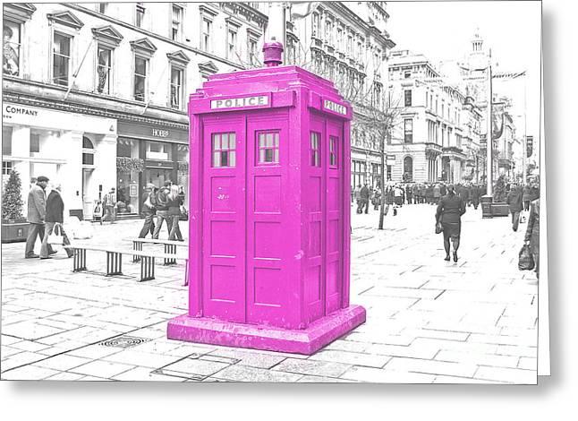 Pink Tardis  Greeting Card by Rob Hawkins