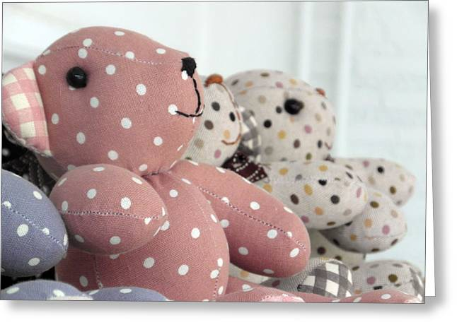 Pink Teddy Bear And Friends Greeting Card by Ian Scholan