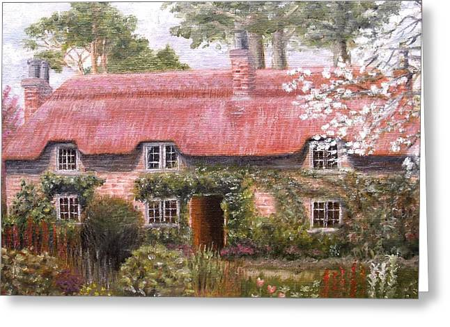Pink Thatched Cottage Greeting Card