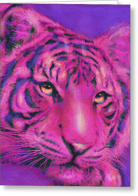 Pink Tiger Greeting Card by Jane Schnetlage