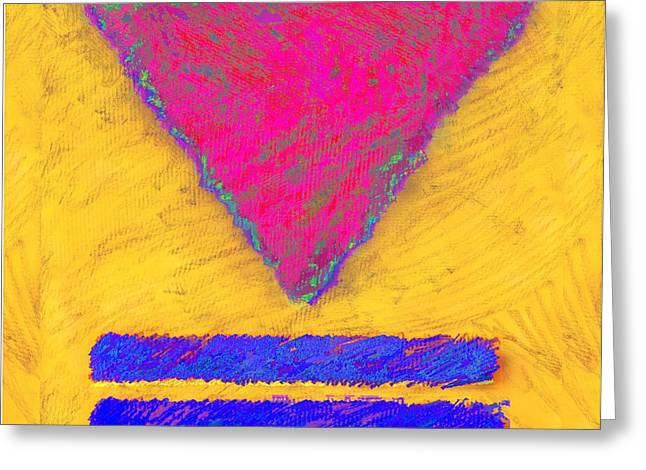 Pink Triangle On Yellow Greeting Card