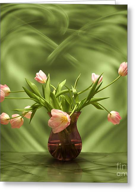Pink Tulips In Green Room Greeting Card