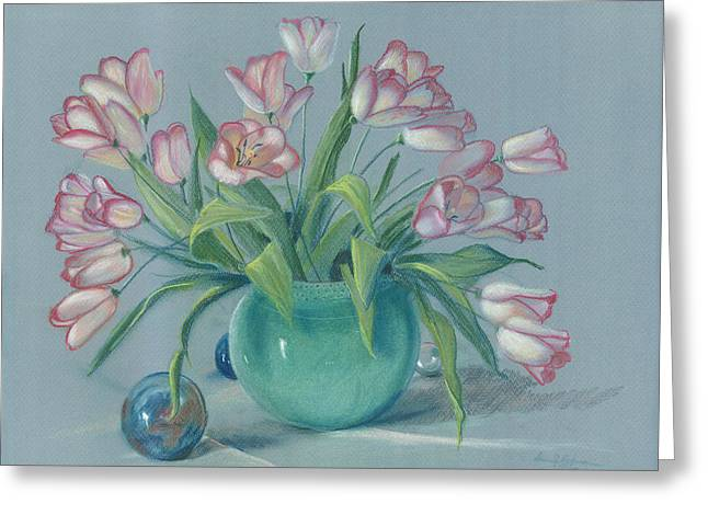 Greeting Card featuring the painting Pink Tulips In Green Vase by Dan Redmon