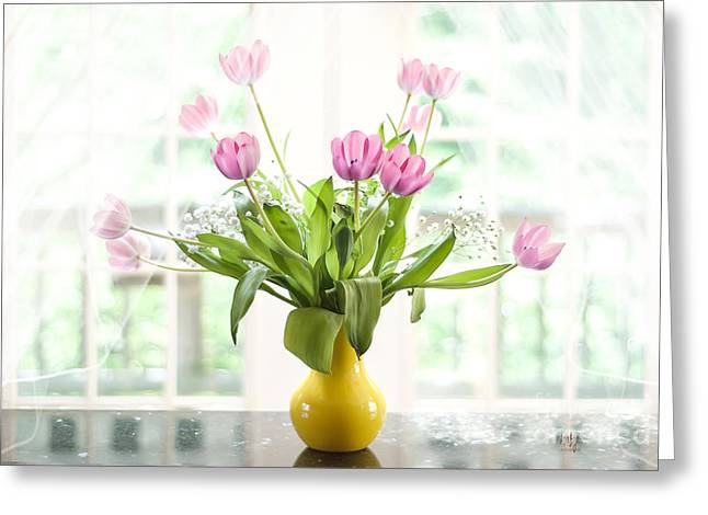 Pink Tulips In The Window Greeting Card by Lois Bryan