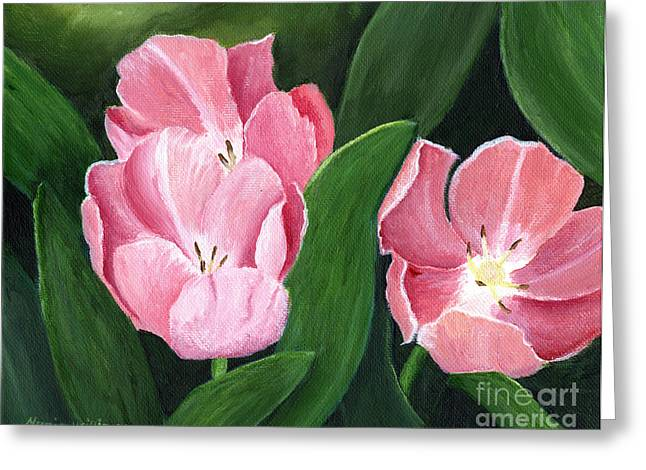 Pink Tulips Greeting Card by Maria Williams