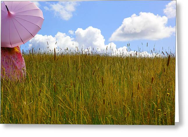 Pink Umbrella In The Meadow Greeting Card