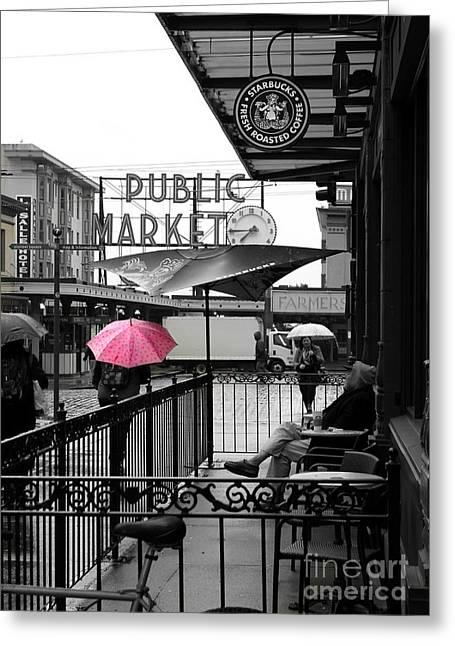 Pink Umbrella Greeting Card