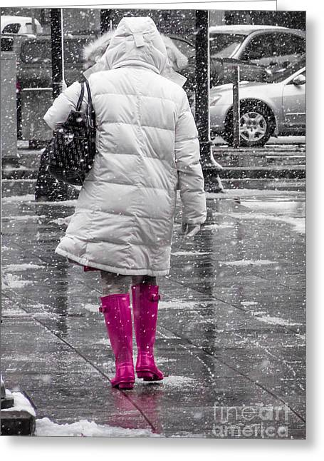 Pink Walk Greeting Card by Susan Cole Kelly Impressions