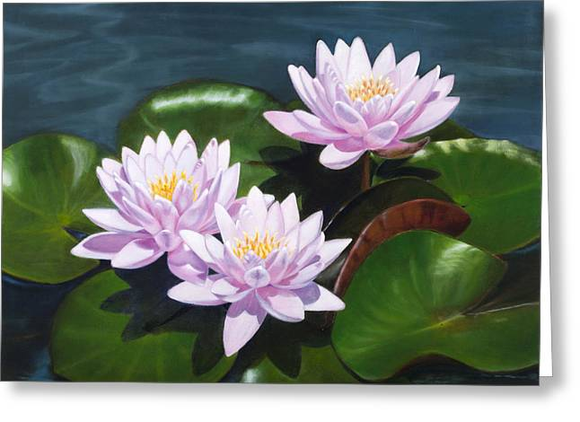 Pink Water Lilies - Oil Painting On Canvas Greeting Card