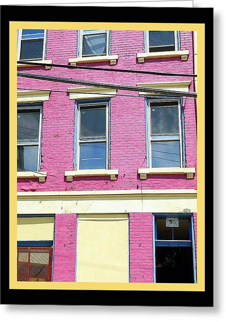 Pink Yellow Blue Building Greeting Card by Kathy Barney