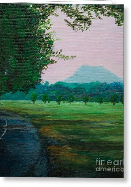 Pinnacle Mountain At Sunset From Two Rivers Park Greeting Card by Amber Woodrum