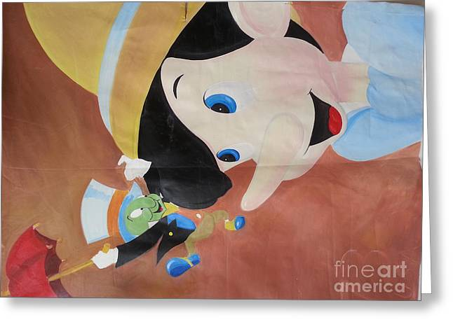 Pinnochio And Jimney Cricket Greeting Card by Calvin Jefferson