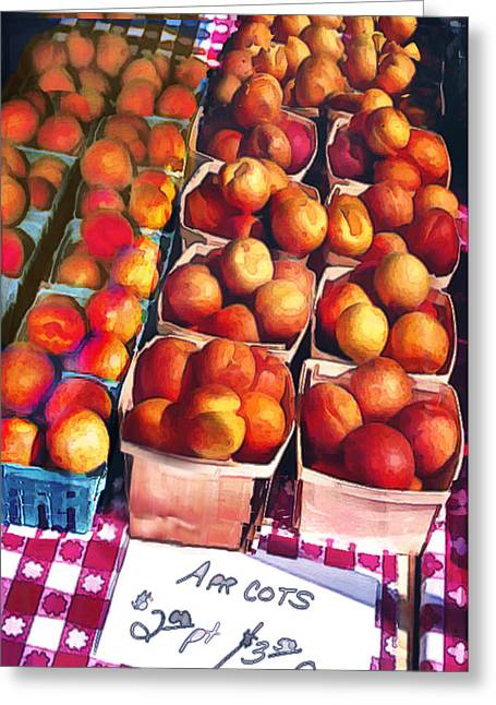 Pints Of Apricots On Checkered Cloth Greeting Card by Elaine Plesser