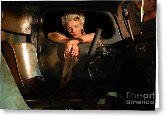 Pinup Girl And Car Greeting Card by Jt PhotoDesign