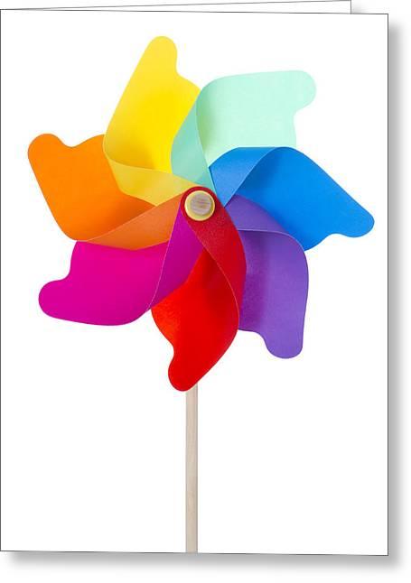 Pinwheel Isolated On White Greeting Card by Anna Kaminska