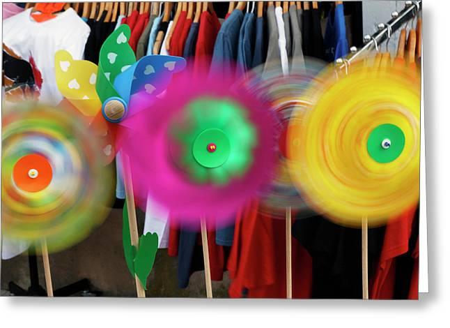 Pinwheels Rotating In Breeze, Southern Greeting Card by Adam Jones