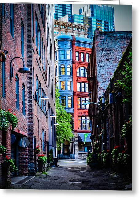 Pioneer Building Through The Alley Greeting Card by Brian Xavier