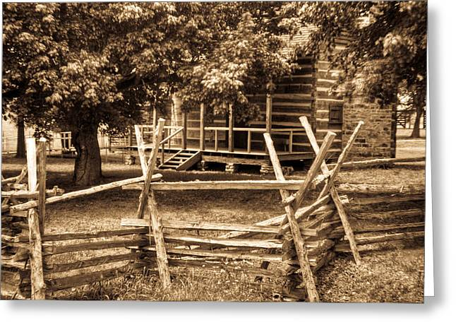 Pioneer Cabin In Sepia 1 Greeting Card